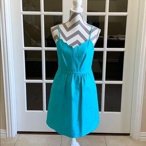 J. Crew  teal factory scalloped cami Dress